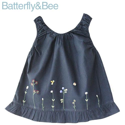画像1: 【クチュール/子供服】バタフライ&ビー手刺繍ノースリーブスモック ネイビー (1)