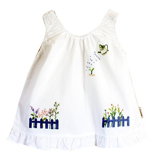画像1: 【クチュール/子供服】じょうろ手刺繍ノースリーブスモック 白 (1)