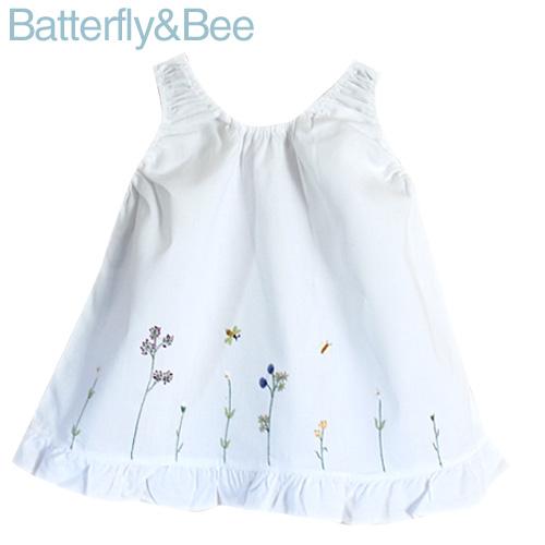 画像1: 【クチュール/子供服】バタフライ&ビー手刺繍ノースリーブスモック 白 (1)