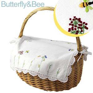 画像1: 【クチュール/かご】バタフライ&ビー手刺繍カバー付きクチュールバスケット ホワイト (1)