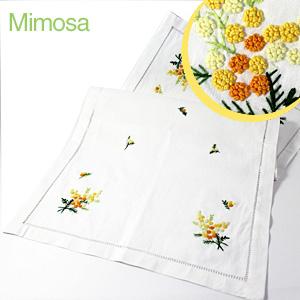 画像1: 【クチュール/ホームリネン】ミモザ手刺繍センターテーブル ホワイト (1)