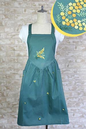 画像1: 【クチュール/エプロン】ミモザ手刺繍ロングエプロン グリーン (1)