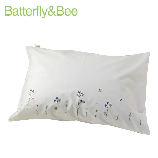 画像1: 【クチュール/ベッドリネン】バタフライ&ビー手刺繍枕カバー 白 (1)