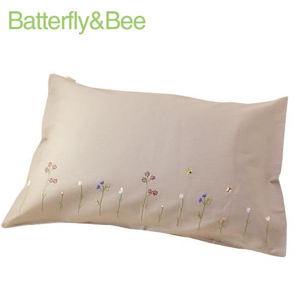画像1: 【クチュール/ベッドリネン】バタフライ&ビー手刺繍枕カバー ベージュ (1)