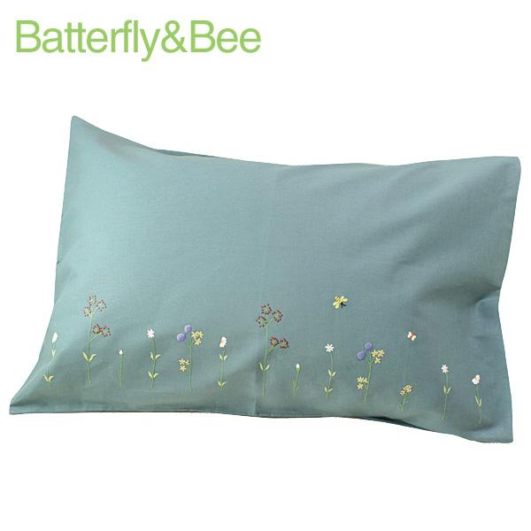 画像1: 【クチュール/ベッドリネン】バタフライ&ビー手刺繍枕カバー グリーン (1)