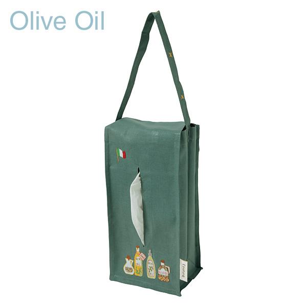 画像1: 【クチュール/生活雑貨】オリーブオイル手刺繍ティッシュボックスホルダー グリーン (1)