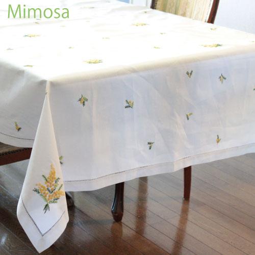 画像1: 【クチュール/ホーム】ミモザ手刺繍長方形テーブルクロス (1)