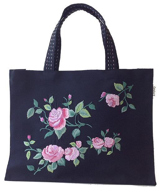 画像1: ピンクローズ手刺繍ラグジュアリートート黒 (1)
