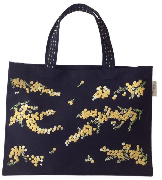画像1: ミモザ手刺繍ラグジュアリートート黒 (1)