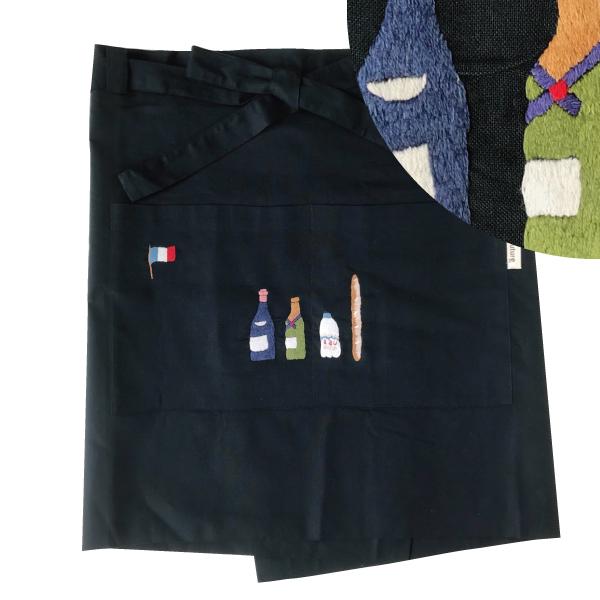 画像1: 【クチュール/エプロン】シャンパン手刺繍カフェエプロン ネイビー (1)