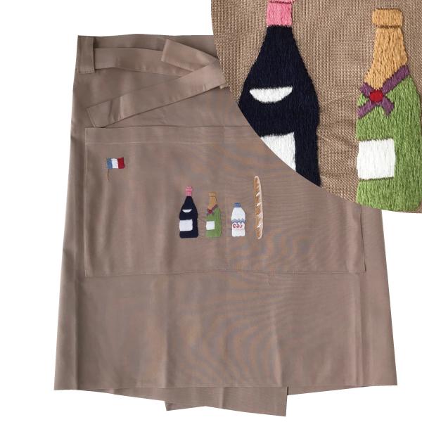 画像1: 【クチュール/エプロン】シャンパン手刺繍カフェエプロン ベージュ (1)