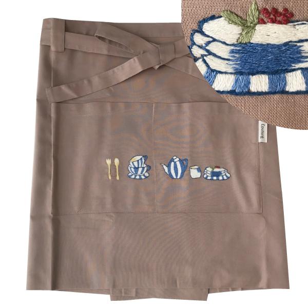 画像1: 【クチュール/エプロン】ブルーディッシュ手刺繍カフェエプロン ベージュ (1)
