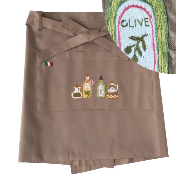 画像1: 【クチュール/エプロン】オリーブオイル手刺繍カフェエプロン ベージュ (1)