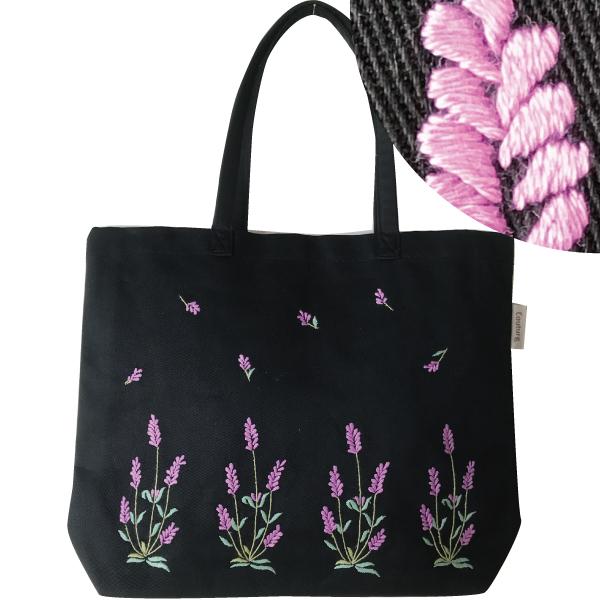 画像1: 【クチュール/バッグ】ラベンダー手刺繍トート ブラック (1)