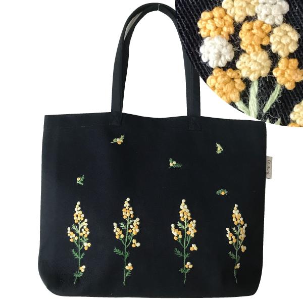 画像1: 【クチュール/バッグ】ミモザ手刺繍トート ブラック (1)