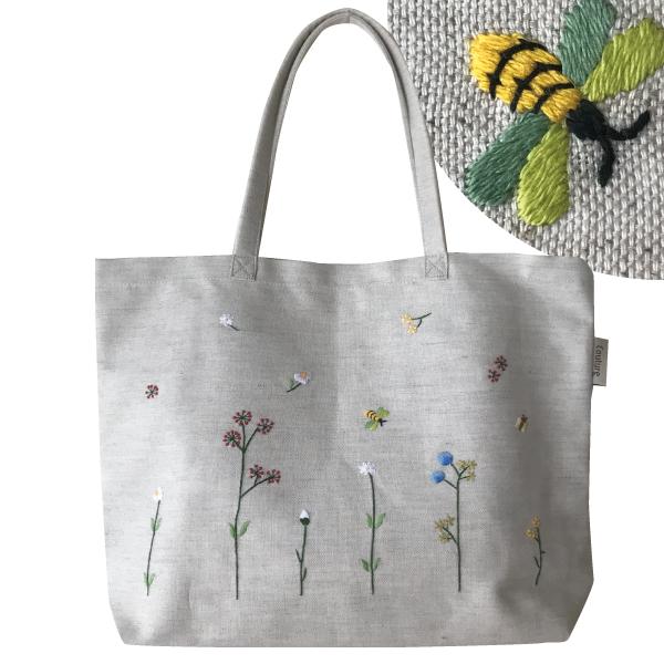 画像1: 【クチュール/バッグ】バタフライ&ビー手刺繍トート (1)
