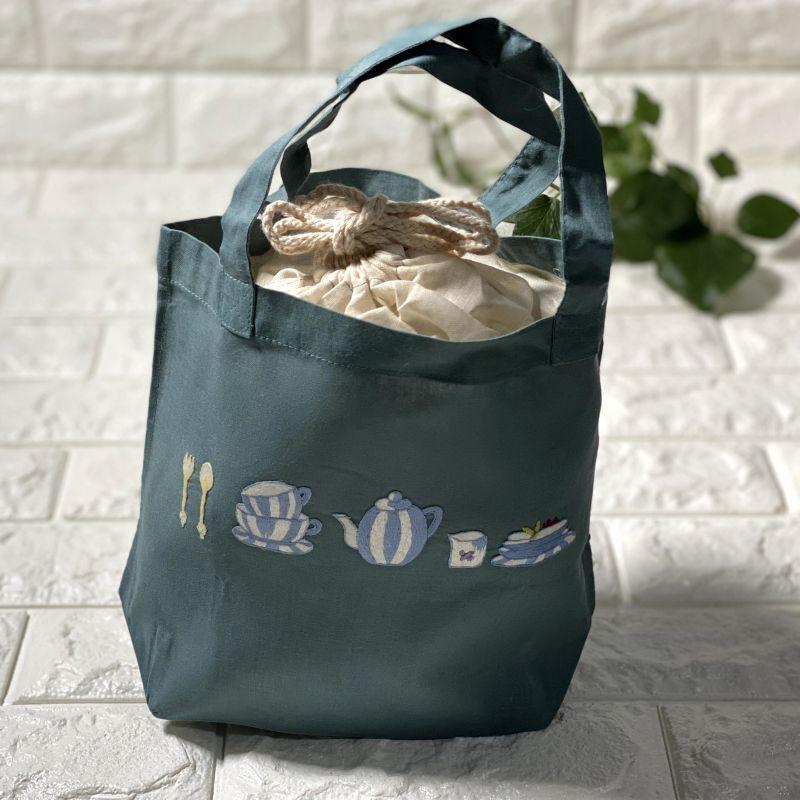 画像1: 【クチュール/バッグ】ブルーディッシュ手刺繍ランチバッグ|グリーン| (1)