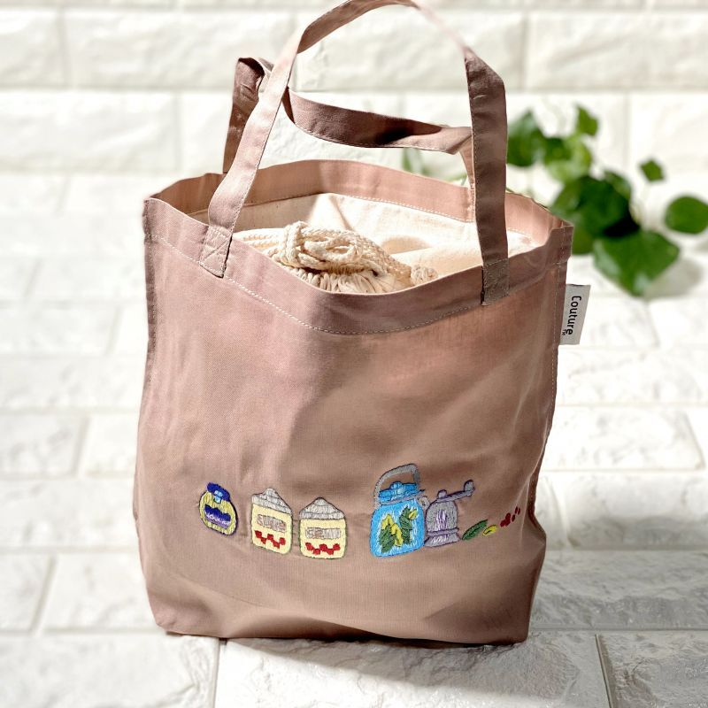 画像1: 【クチュール/バッグ】キャニスター手刺繍ランチバッグ|ベージュ| (1)