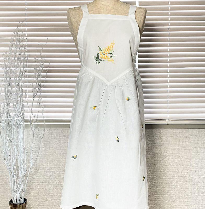 画像1: 【クチュール/エプロン】ミモザ手刺繍サロンエプロン 白  (1)
