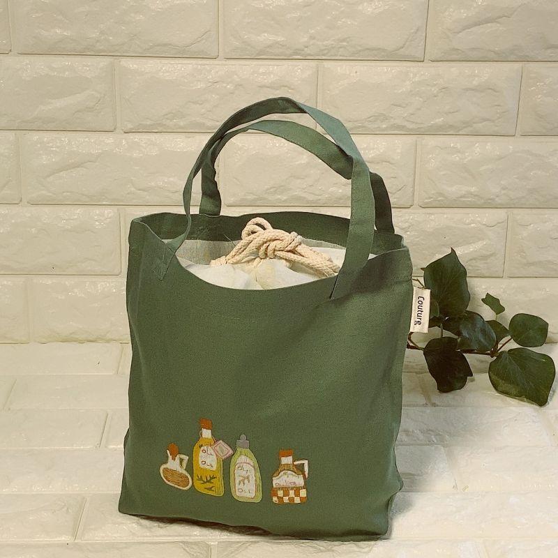 画像1: 【クチュール/バッグ】オリーブオイル手刺繍ランチバッグ|グリーン| (1)