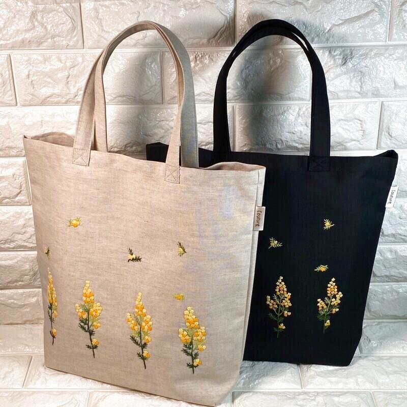 画像1: 【クチュール/バッグ】ミモザ手刺繍たてトート (1)