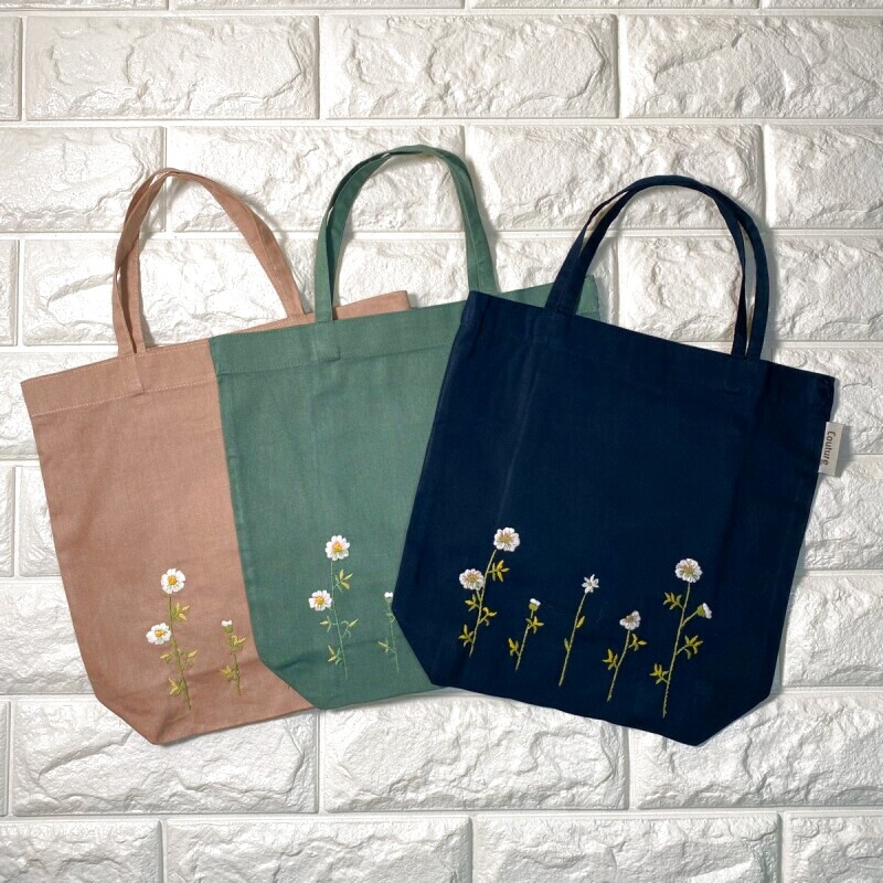 画像1: 手刺繍カモミール柄バッグインバッグ (1)