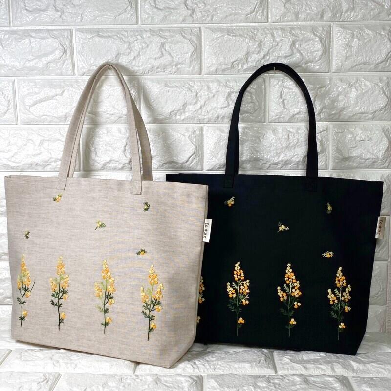 画像1: 【クチュール/バッグ】ミモザ手刺繍よこトート (1)