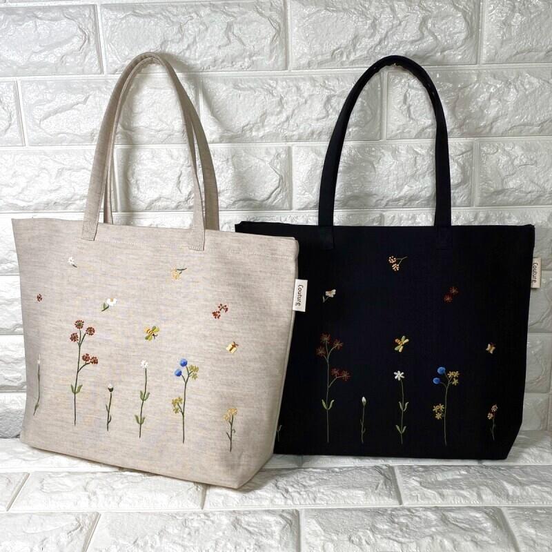 画像1: 【クチュール/バッグ】バタフライ&ビー手刺繍よこトート (1)