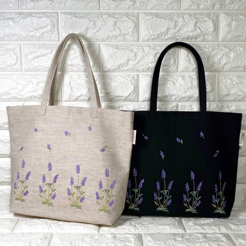 画像1: 【クチュール/バッグ】ラベンダー手刺繍よこトート (1)