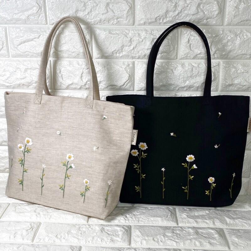 画像1: 【クチュール/バッグ】カモミール手刺繍よこトート (1)