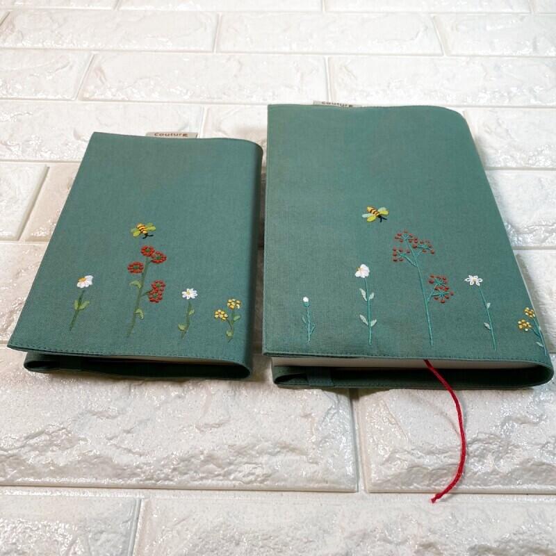 画像1: 【クチュール/雑貨】バタフライ&ビー手刺繍ブックカバー*グリーン* (1)