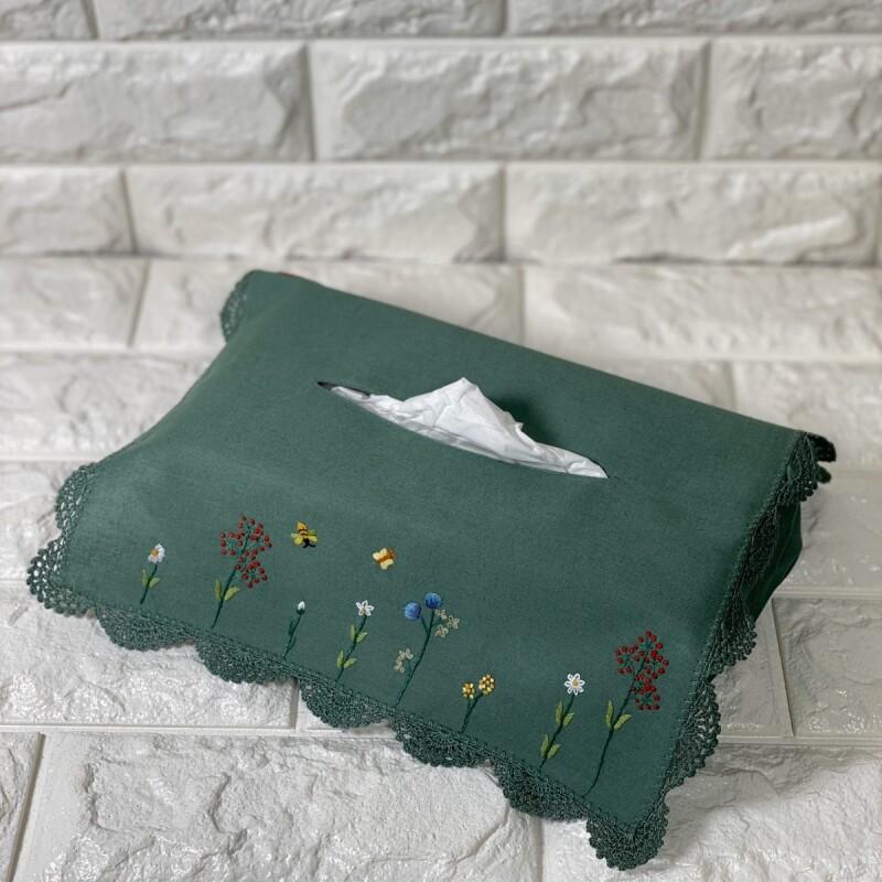 画像1: 【クチュール/雑貨】バタフライ&ビー手刺繍ティッシュ箱カバー*グリーン* (1)