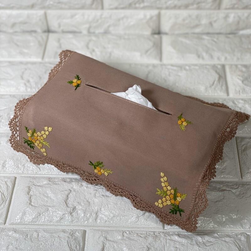 画像1: 【クチュール/雑貨】ミモザ手刺繍ティッシュ箱カバー*ベージュ* (1)