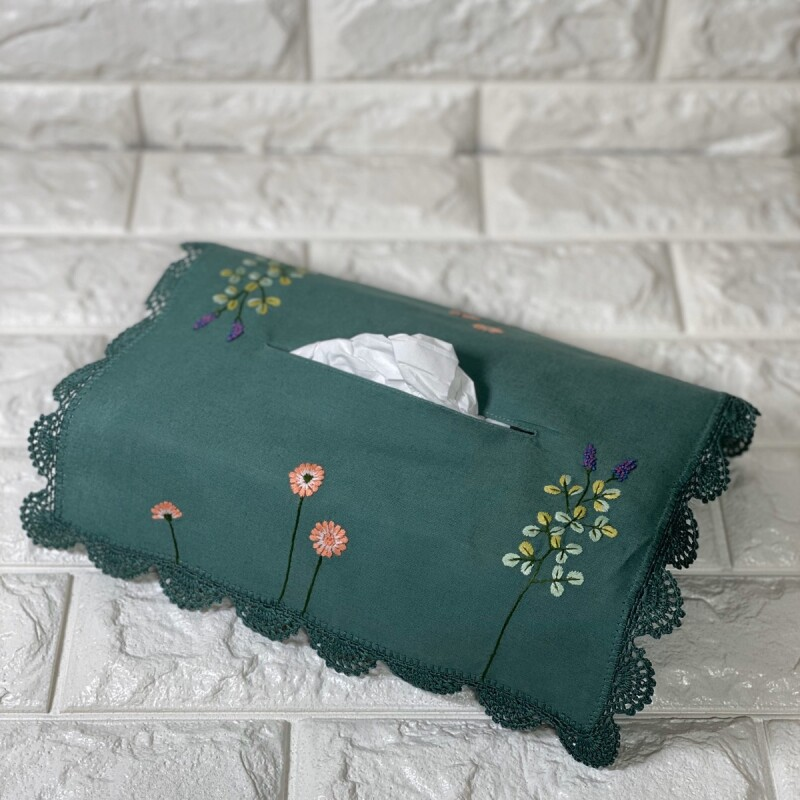 画像1: 【クチュール/雑貨】ナチュール手刺繍ティッシュ箱カバー*グリーン* (1)
