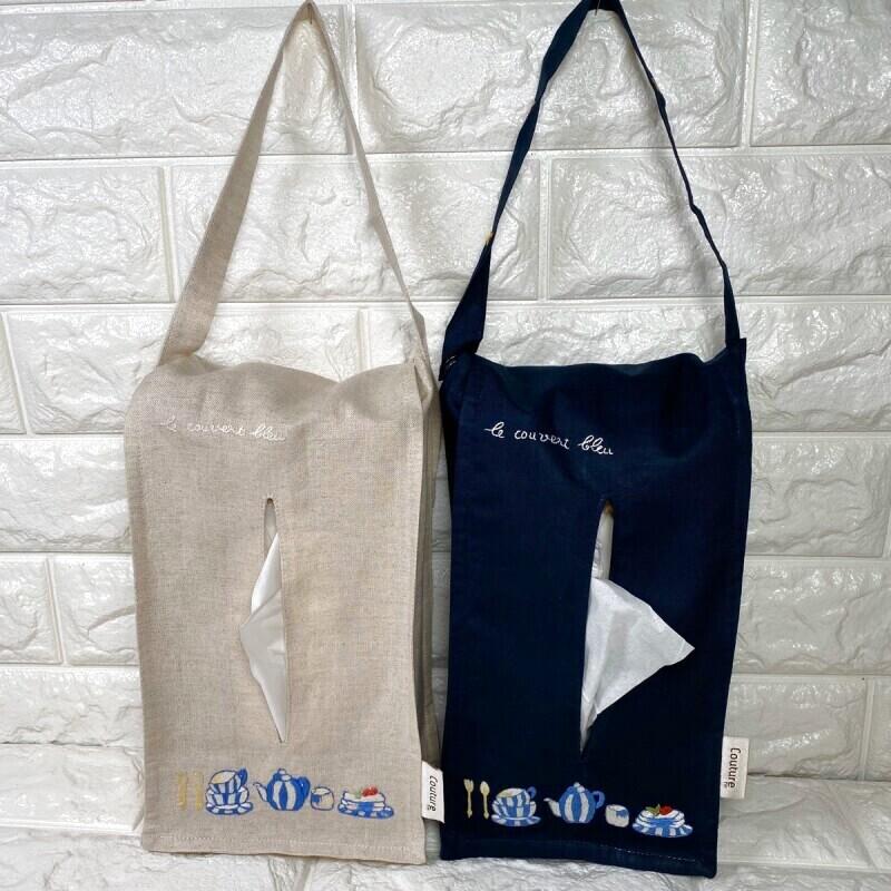 画像1: 【クチュール/雑貨】ブルーデッシュ手刺繍ティッシュ箱ホルダー (1)