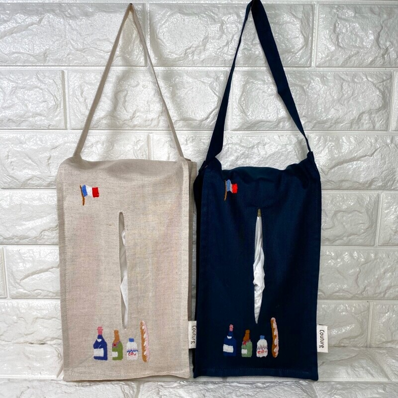 画像1: 【クチュール/雑貨】ボトル手刺繍ティッシュ箱ホルダー (1)