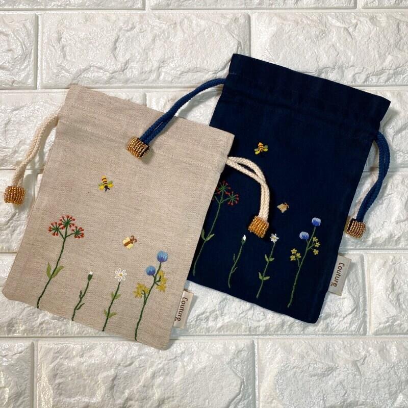 画像1: 手刺繍バタフライ&ビー柄キンチャク (1)