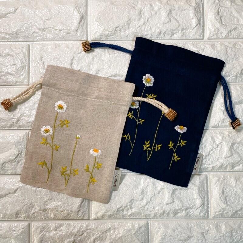 画像1: 手刺繍カモミール柄キンチャク (1)