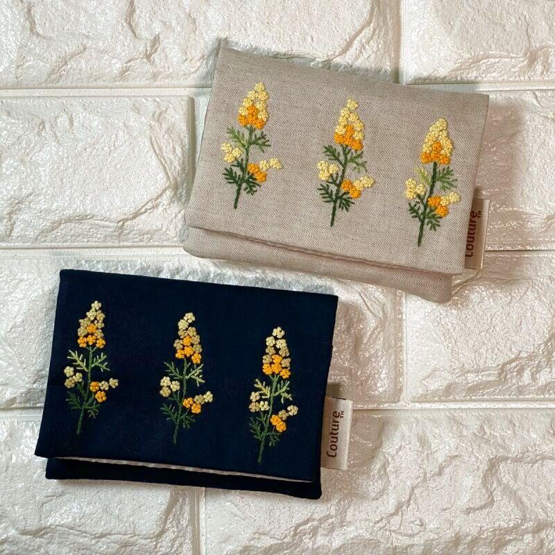 画像1: 【クチュール/雑貨】ミモザ手刺繍ミニティッシュケース&移動ポケット (1)