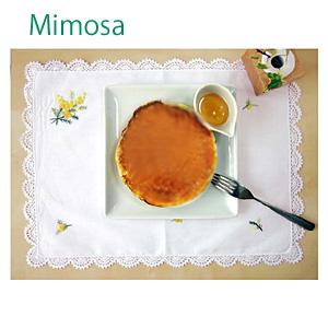 画像1: 【クチュール/ランチョン】ミモザ手刺繍レースランチョン (1)