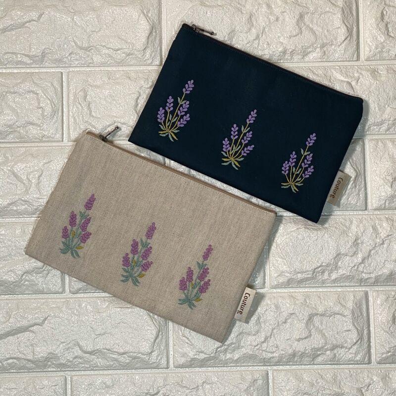 画像1: 【クチュール/ポーチ】ラベンダー手刺繍クッションポーチ (1)