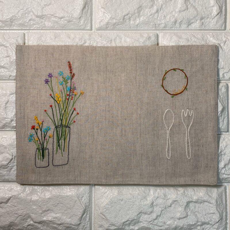 画像1: 手刺繍フラワーベース柄ティーマット (1)